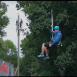 Participant Zip Lining at Crawfordsburn